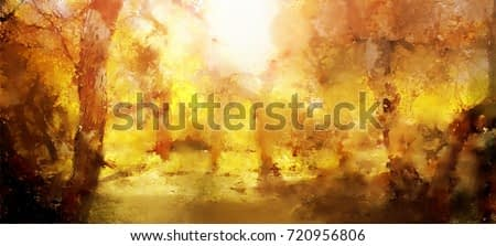 Abstract painting of colorful forest with yellow leaves in autumn
