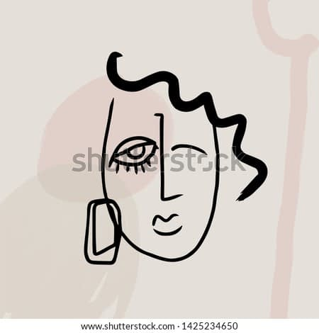 abstract face drawing aesthetic, minimal continuous line, simple contemporary modern portrait, scandinavian idea for wall art, poster, card, print. beauty vogue design