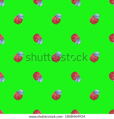 Seamless pattern with berry jam on a bright green background. Can be used for cards, wrapping paper. The work is done in watercolor.