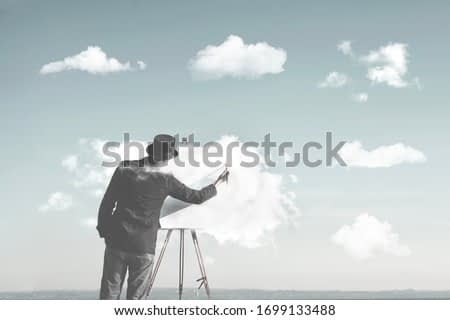 clouds creators, man painting many clouds shapes, surreal concept