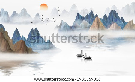Hand painted blue, elegant Chinese landscape painting