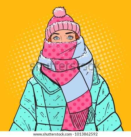 Pop Art Portrait of Beautiful Woman in Warm Winter Clothes. Cold Weather. Vector illustration