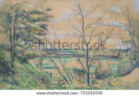 In the Oise Valley, by Paul Cezanne, 1878-80, French Post-Impressionist watercolor painting. Landscape study painted with gouache on a graphite drawing
