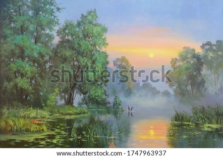 bent trees by the river during sunrise,oil painting, fine art, handmade painting, park, water, tree, landscape, river, nature