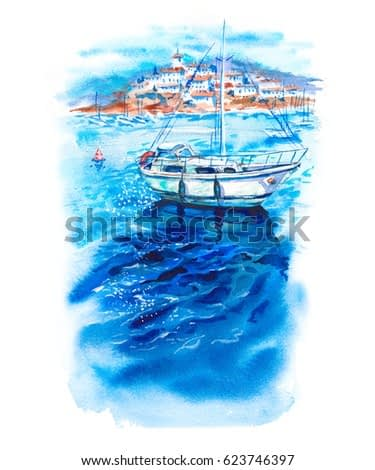 Summer sun watercolor landscape with azure sea, boats, yachts, blue sky and white coastal city, bright marine hand drawn illustration isolated on white background