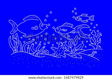 Outline underwater grass with fish, seaweed. Sketch kids hand drawing art line. Vector stock illustration