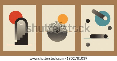 A set of three colorful aesthetic geometric backgrounds. Minimalistic posters for social media, cover design, web, home decor. Vintage illustrations with stripes, shapes, circles, semicircles, lines.