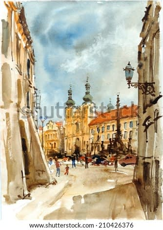 Street in old town square, watercolor illustration