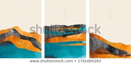 Abstract arts background with Japanese wave pattern vector. Nature landscape wallpaper with watercolor painting texture. Oriental mountain forest template.