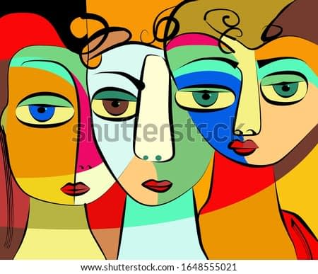 Colorful abstract background, cubism art style, triple portrait