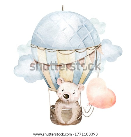 Cute cartoon baby bear animal hand drawn watercolor bunny illustration with air balloon. kids nursery wear fashion design, baby shower invitation card