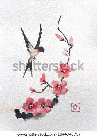 The swallow is circling over the Sakura branch. Traditional Japanese ink painting sumi-e on vintage paper. Illustration.