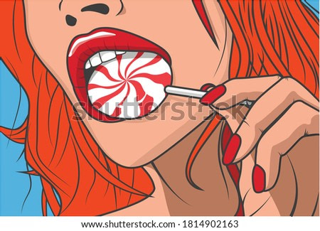 Vector pop art pin up sexy girl with red hair sucking Lollipop isolated on blue background, for poster, loft style