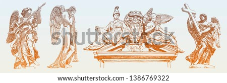 set of original sketch digital drawing of marble statue of angel from the Sant Angelo Bridge in Rome, Italy, vector illustration