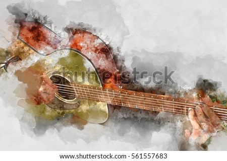Abstract Guitarist in the foreground. Close up, Watercolor painting background and Digital illustration brush to art.