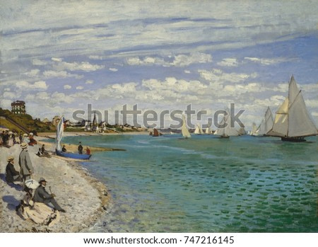 Regatta at Sainte-Adresse, by Claude Monet, 1867, French impressionist painting, oil on canvas. It depicts a sailing regatta at Le Havre with figures on the beach. The standing man in a gray suit and