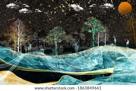 3d modern art mural wallpaper with black Jungle , forest  background . golden deer, black christmas tree ,  marble mountain , moon with golden birds . Suitable for use as a frame on walls .