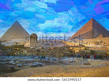 Colorful afternoon with tourists at the front of The Great Sphinx and The Pyramids of Giza in beautiful panorama picture. Cairo, Egypt. Abstract oil painting.