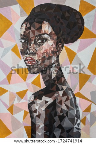 Black lives matter. Polygonal portrait of young pretty african woman hand drawn painting acrylic on canvas. Beautiful African American woman face with black afro hair. Fashion African girl