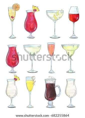 hand drawn painted set of watercolor sketch of isolated cocktails in champagne glass, wine glass, margarita glass, Irish coffee mug, Hurricane glass on white background
