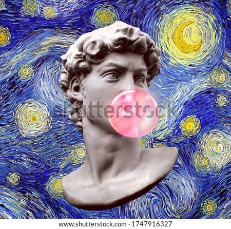 Funny illustration from 3d rendering of Michelangelo's David classical head sculpture blowing a pink chewing gum bubble on blue starry sky impressionist style digital painted background.