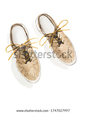 Watercolor casual leather athletic shoes with shoelace on white. Hand painted fashion illustration with brogues