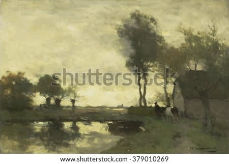 Landscape with Farm with a Pond, by Johan Hendrik Weissenbruch, 1870-1903, Dutch oil painting on canvas. A farmer leads a cow beside pond with row boat.