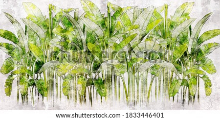 Tropical leaves on concrete background. Great choise for mural, card, postcard, wallpaper and photo wallpaper. Design for modern and loft interiors.