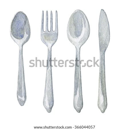 Hand drawn watercolor spoon, fork, knife