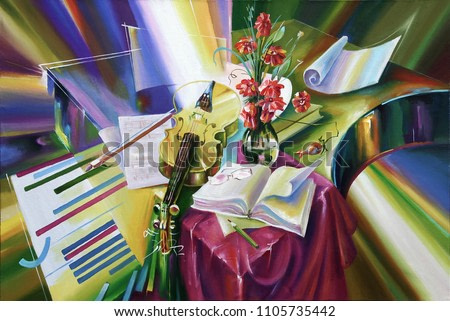An oil painting on canvas. Enlightenment of the composer. Still life in bright and juicy colors.