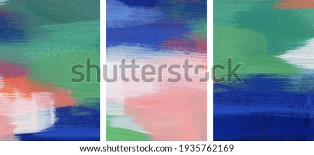 Three beautiful abstract paintings. Versatile artistic backdrops for creative design projects: posters, banners, cards, websites, invitations, wallpapers. Bright colours. Minimalist artworks.