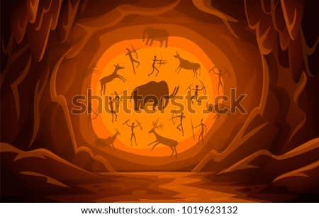 Prehistoric Cave with cave drawings. Cartoon mountain scene background Primitive cave paintings. ancient petroglyphs. Vector illustration.