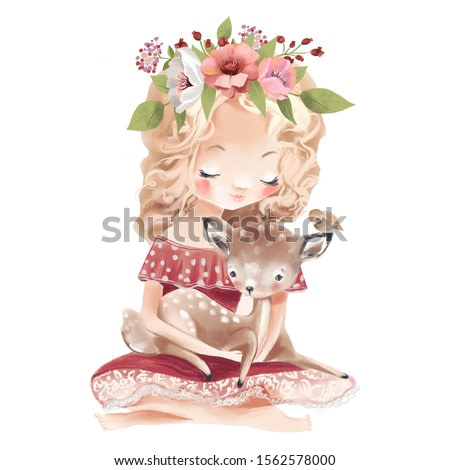 Cute little girl with a deer, bird and flowers. Best friends watercolor illustration