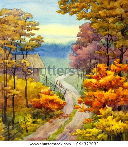 Colorful vibrant hand drawn watercolour sketch drawing on paper backdrop with space for text on glowing heaven. Quiet romantic scene. Rainy gloomy haze scenic park view