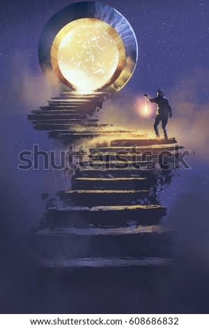man with a lantern walking on stone staircase leading up to fantasy gate,illustration painting