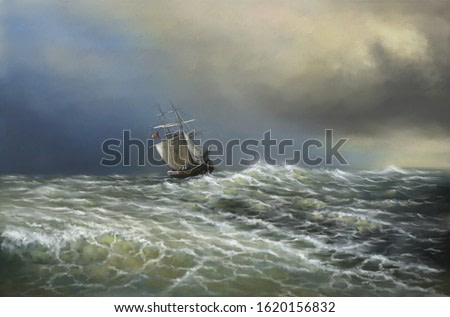 Paintings sea landscape, ship in the sea. Fine art.