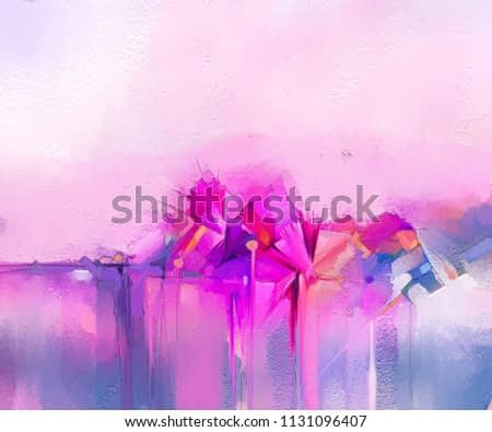 Abstract colorful oil painting on canvas. Semi- abstract image of flowers, in yellow pink and red with blue color. Hand drawn brush stroke, oil color paintings. Modern art oil paintings for background