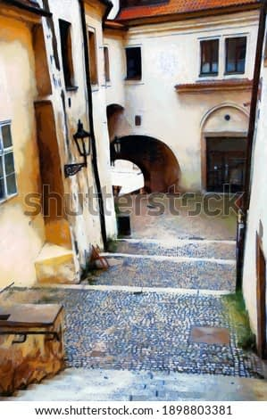 Stone staircase in the old town of Prague, digital generated painting