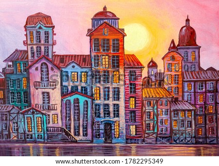 Street scene in old town with colorful buildings. Contemporary art.