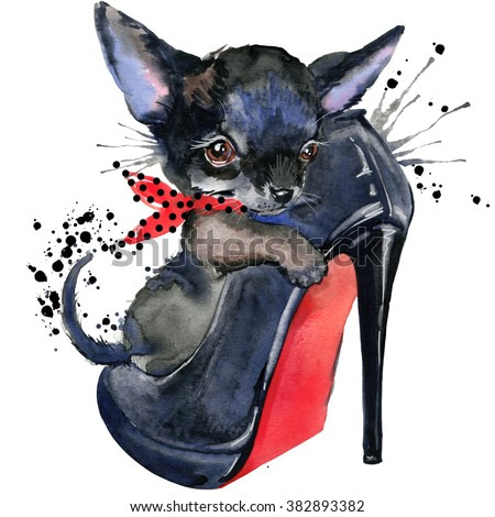 Cute Toy Terrier breed of dog watercolor illustration