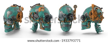 Steampunk skull features steam-powered machinery rather than advanced technology. Isolated white background 3d illustration different angle view realistic set