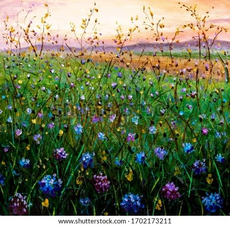 Original flower oil painting blue pink flowers with green grass. Spring flowers landscape on canvas. Field wildflowers Impasto artwork. Impressionism art.