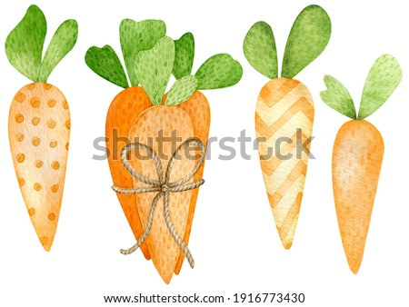 Watercolor illustration of cartoon style orange carrots. Happy Easter hand-painted symbol. Carrots for Easter Bunny.