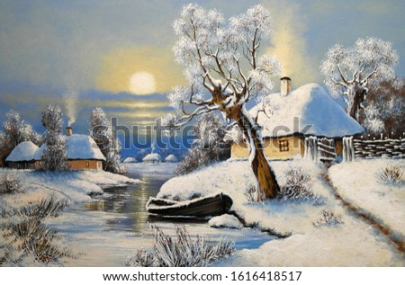 Oil paintings rural landscape, winter landscape with trees and snow, boat in river. Fine art.