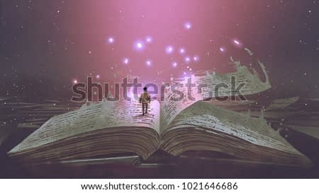 Boy standing on the opened giant book with fantasy light, digital art style, illustration painting