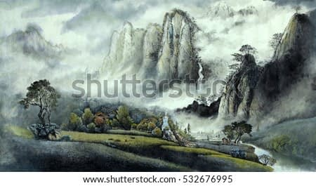 Chinese landscape mist Waterfall and high mountains