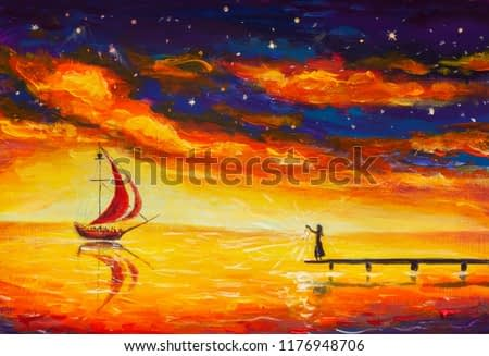 Fantastic illustration fine art. Girl woman with lantern fire on bridge waiting for meets sailing ship with red sails. Yellow sea water book painting. Red blue clouds starry sky painting.