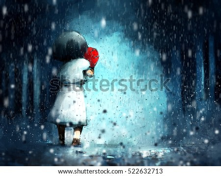digital painting of girl with heart shaped old pillow walking in rainy, acrylic sketched on canvas texture