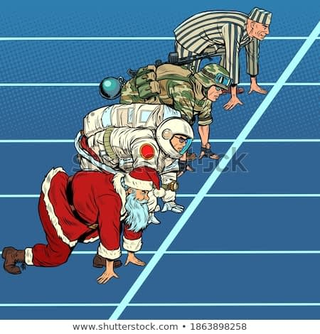 Sports race with Santa Claus military astronaut and prisoner. Pop art retro illustration kitsch vintage 50s 60s style