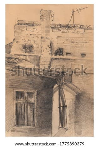 Figure of the yard. Pencil drawn illustration of an old building. Sketch, image, antique effect. Realism, vintage, retro. houses, roofs, bricks. Drawn by hand